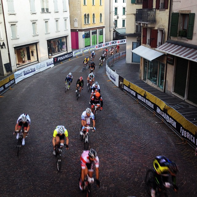 #tbt to the Castelli24. A team 24 race through the streets of Feltre, Italy.