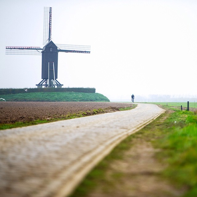 Today's #Flanders image, the first section of cobbles goes past one of the Molen (windmills). Here former @rideargyle athlete, Sébastien Rosseler, pounding the cobbles during a Castelli photo-shooting, 2012. #‎TourOfFlanders #‎RondeVanVlaanderen @jeredgruber